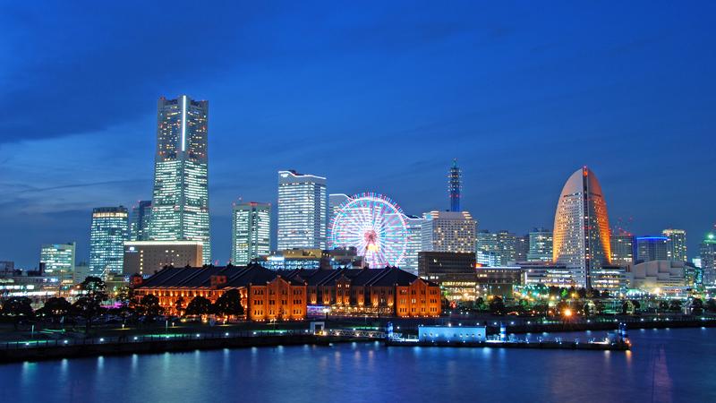 Tokyo skyline in de nacht