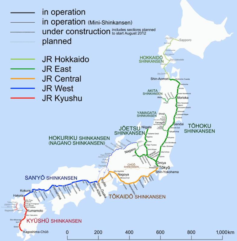 Shinkansen spoorwegen netwerk