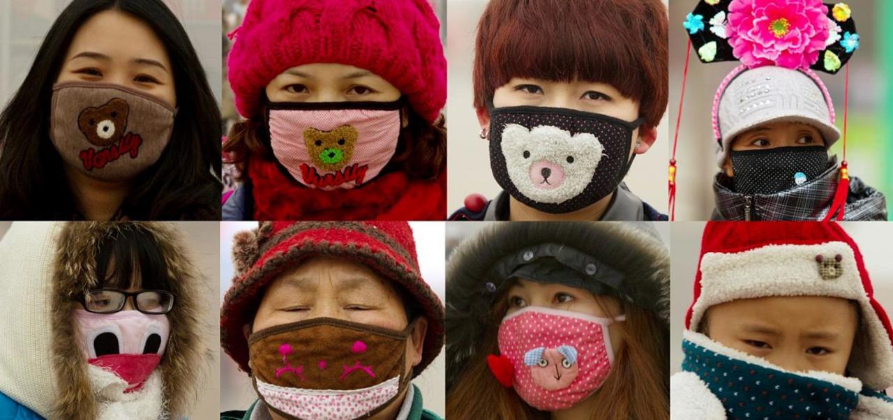 Japanners met mondkapjes op
