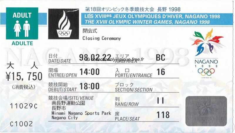 Ticket Olympische Spelen Japan Nagano