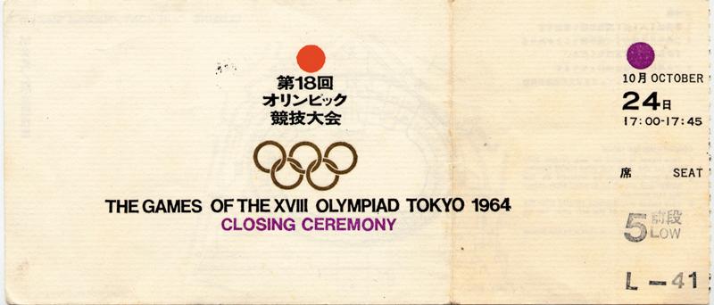 Tickets Olympische Spelen Tokyo 1964