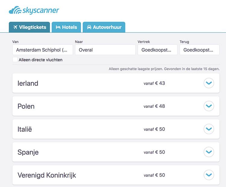 Skyscanner maandoverzicht vluchten en ticketprijzen