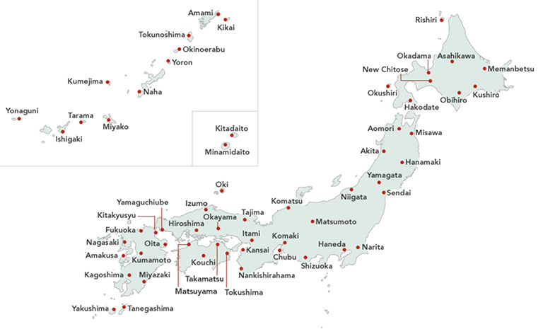 Luchthavens binnenlandse vluchten Japan kaart