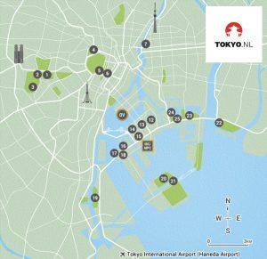Olympische wedstrijd locaties in centrum Tokyo