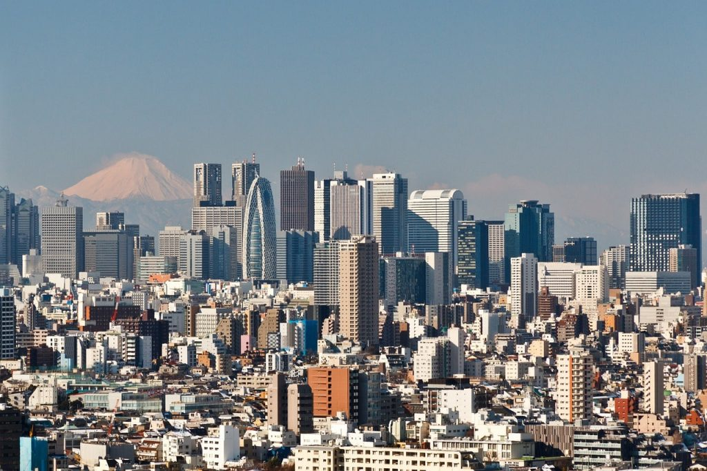 Tokyo skyline met Mount Fuji