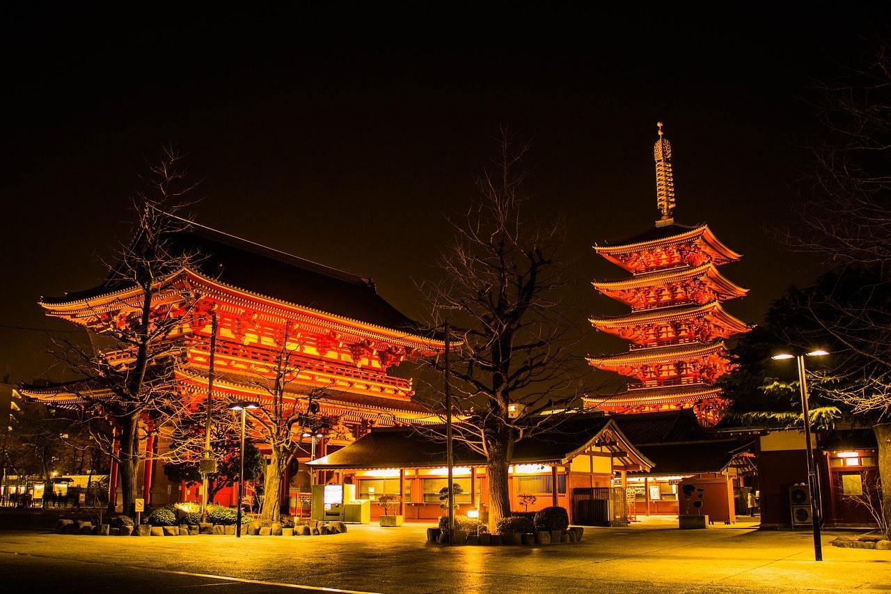 Tokyo tempel Senso ji in de nacht