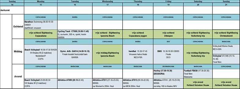 Excel schema Olympische planning