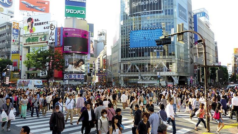 Shibuya crossing tijdens spitsuur