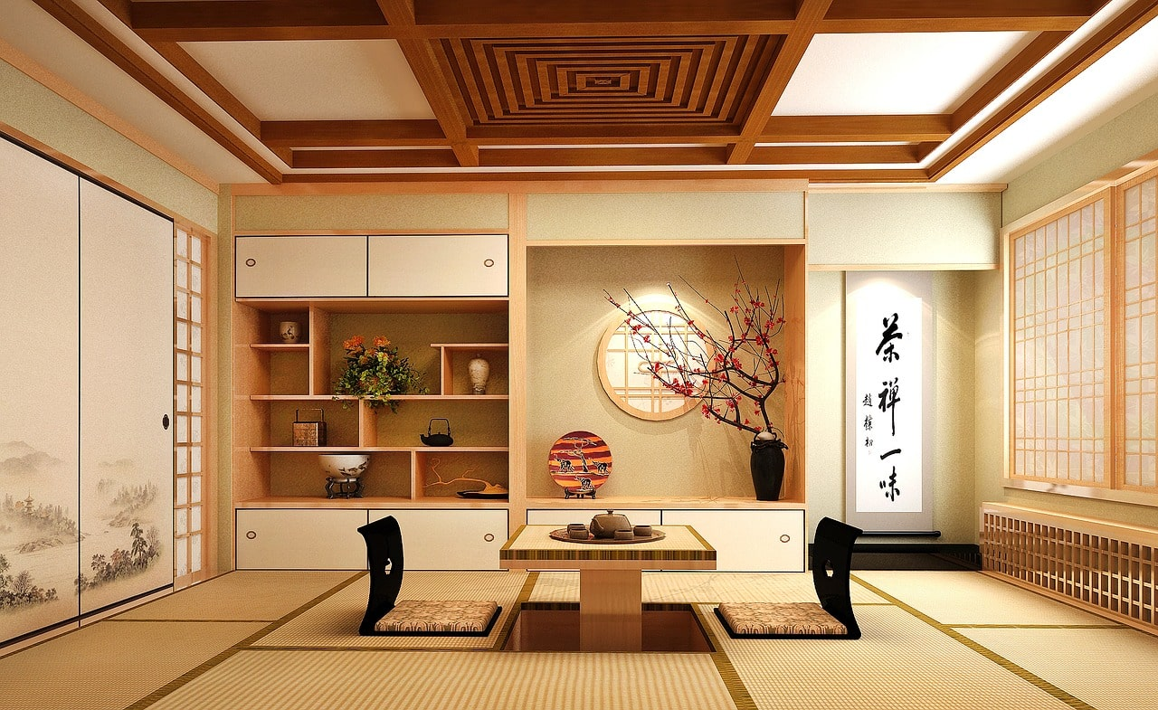 Tatami vloermat in Japanse woning