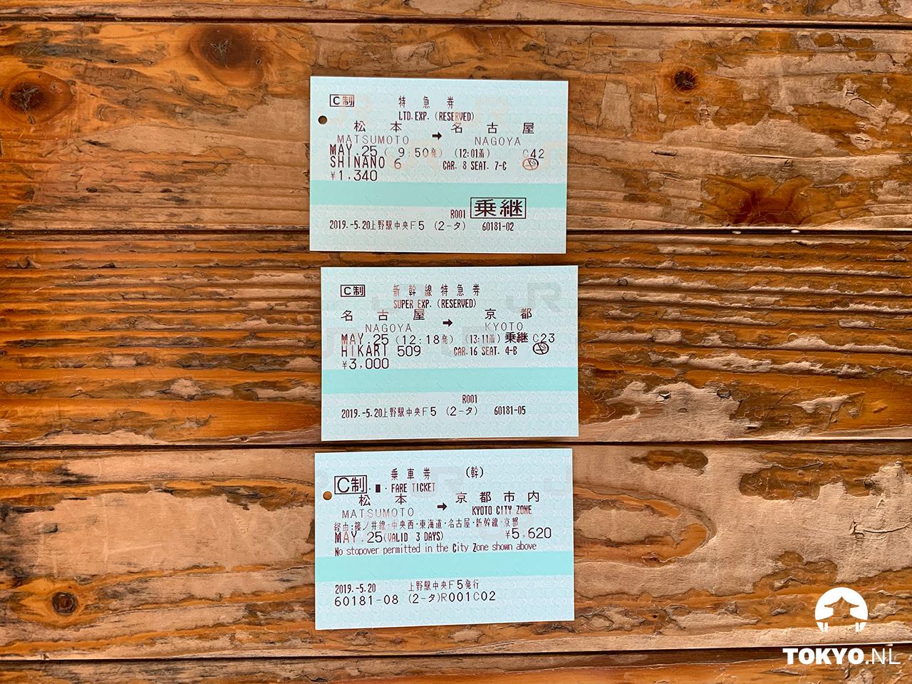 Treinkaartjes Matsumoto - Nagoya - Kyoto