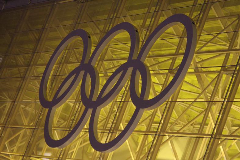 Olympische ringen op stadion