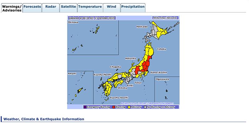Natuurrampenkaart van Japan