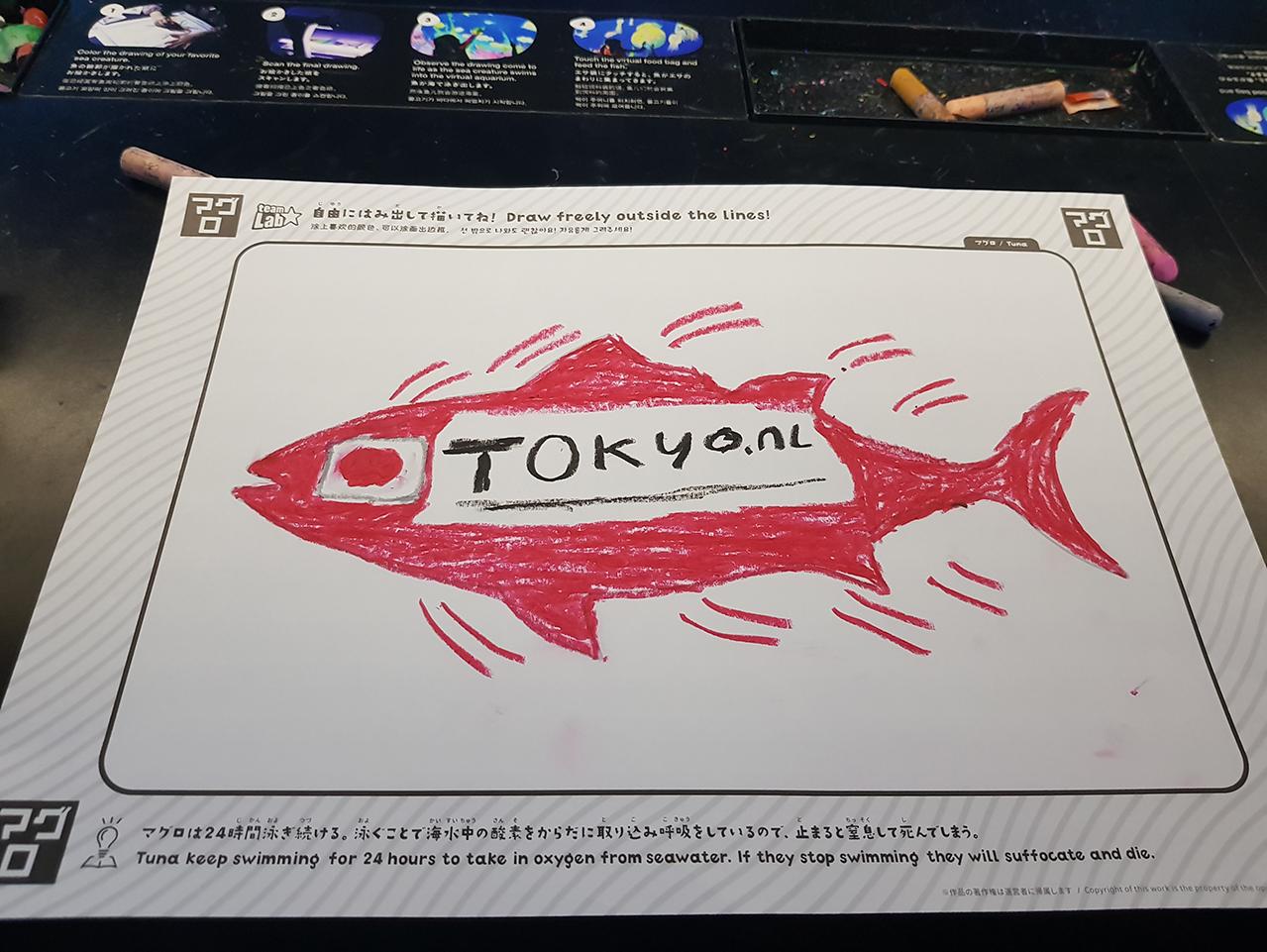 Vis met logo Tokyo.nl in Teamlab museum