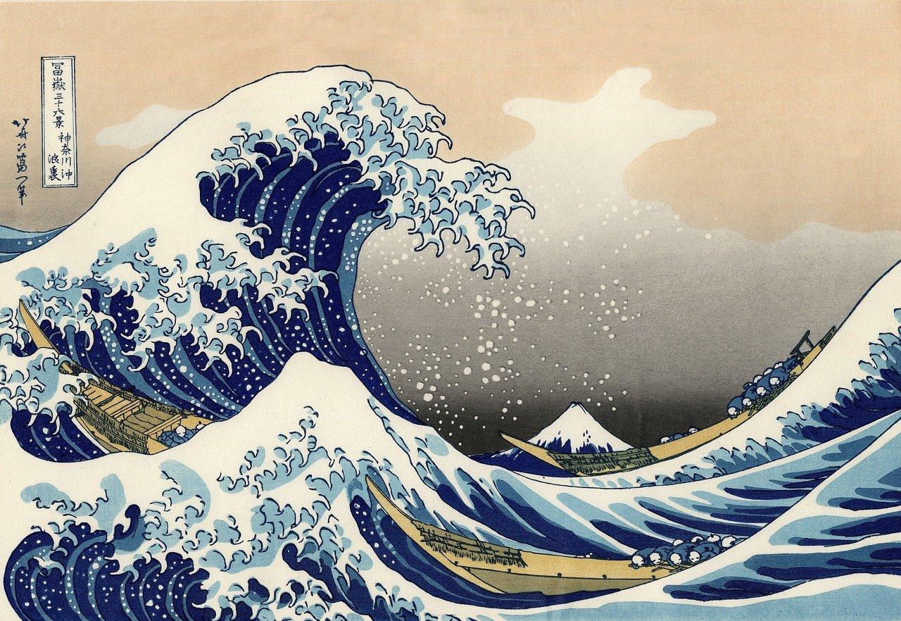 """""""De grote golf van Kanagawa"""", het eerste stuk van """"36 gezichten van Mount Fuji"""""""