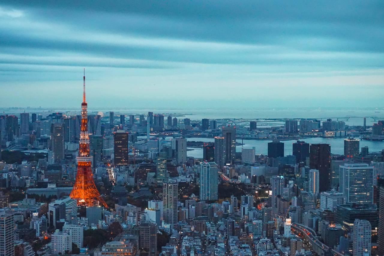 de skyline van de wijk Minato in Tokyo