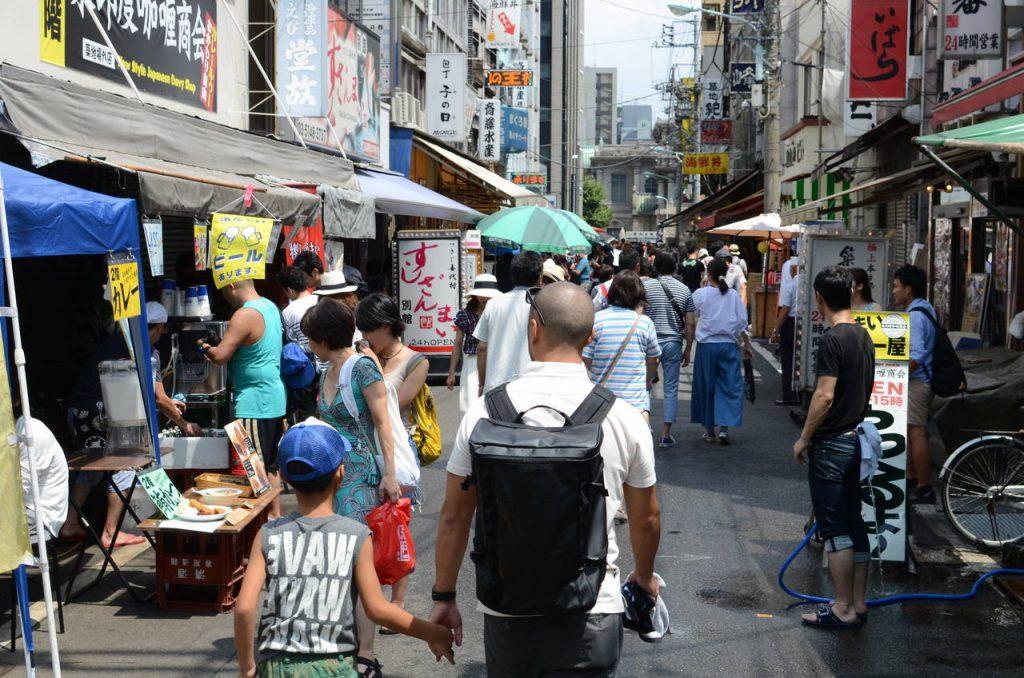 De wijk Tsukiji in Tokyo