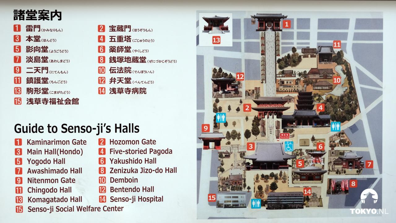 Kaart van het Senso-ji complex