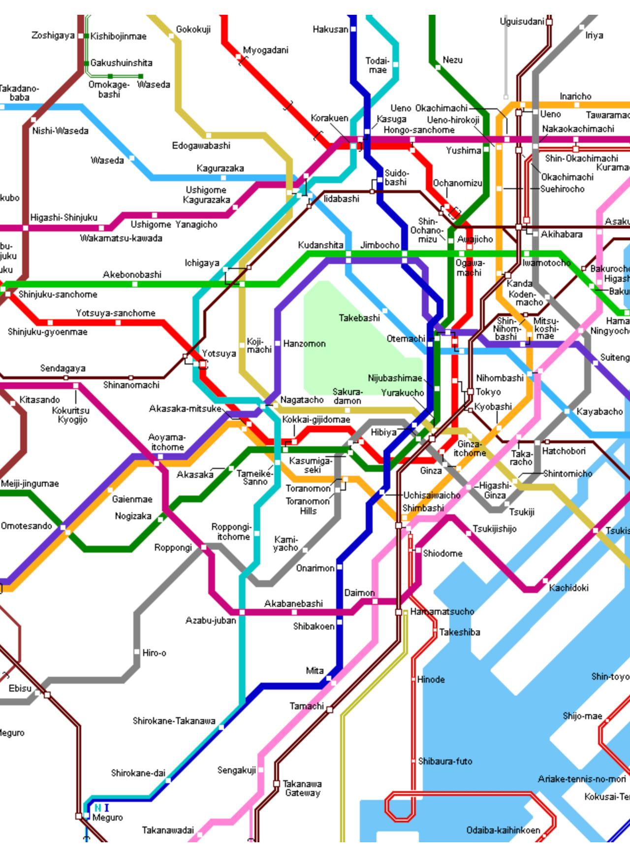 Metro kaart Tokyo
