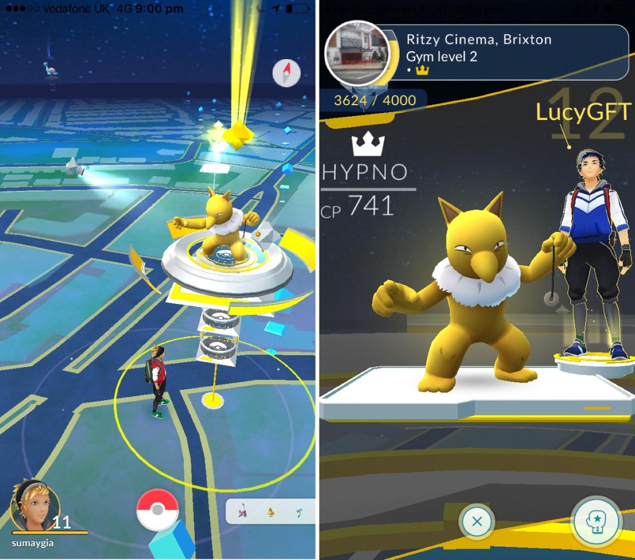 Pokémon Go spelletje op mobiel
