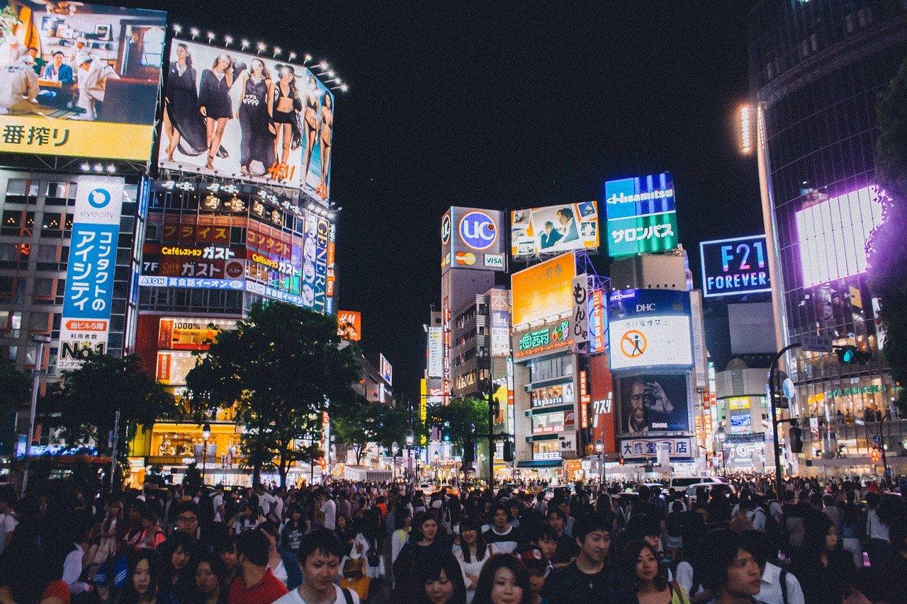 Shibuya kruispunt in de avond