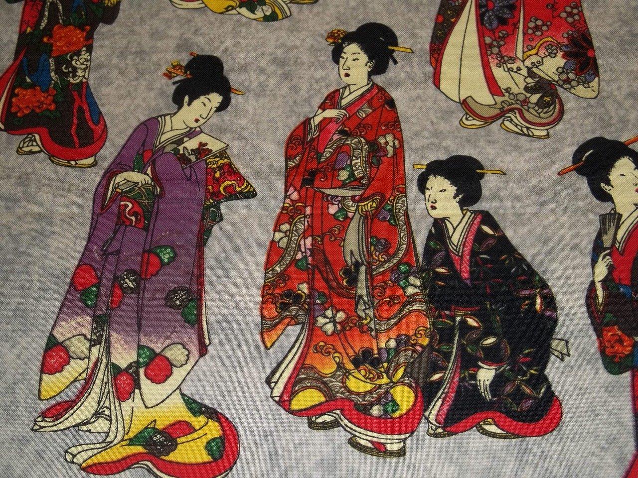 Geisha's op een schilderij