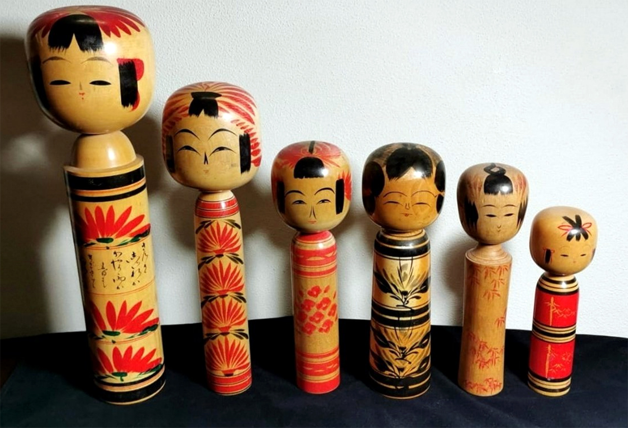 Kokeshi poppen in alle soorten en maten