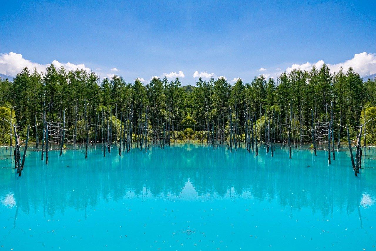 Blauwe vijver nabij Biei