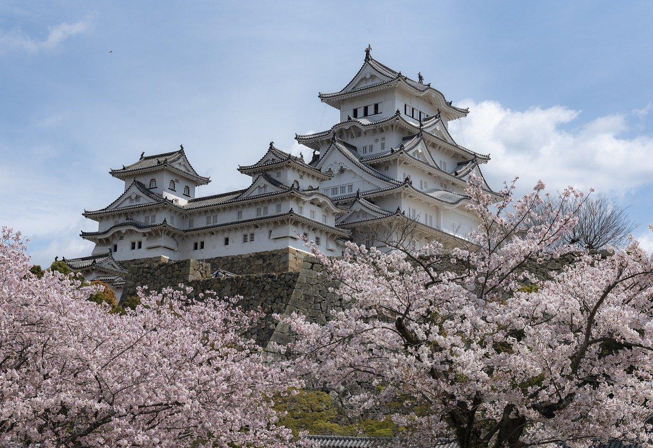 Himeji kasteel tijdens de sakura