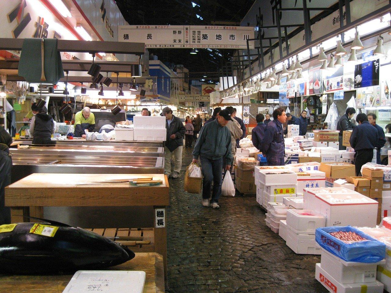 Oude vismarkt in Tokyo