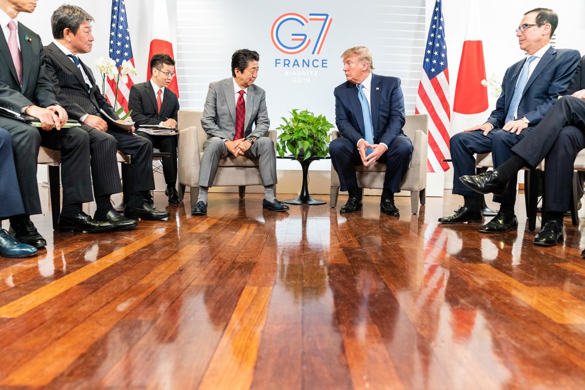 G7 vergadering tussen Shinzo Abe en Trump