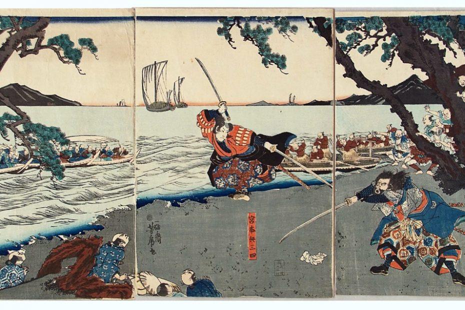 Sasaki Kojiro (rechts) vecht tegen Miyamoto Musashi