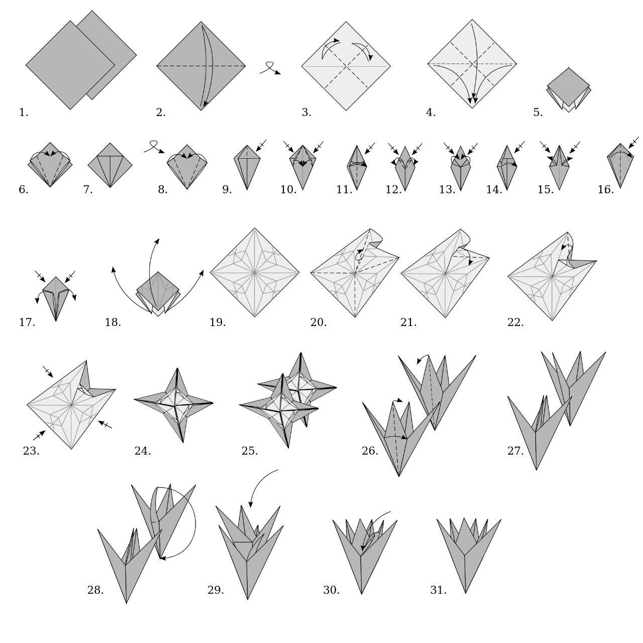 Origami bloem vouwen