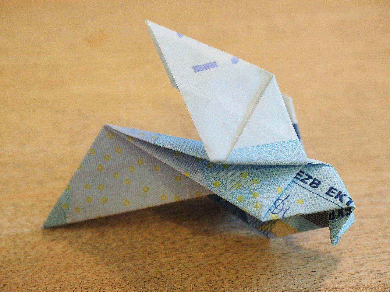 Origami gevouwen van geld