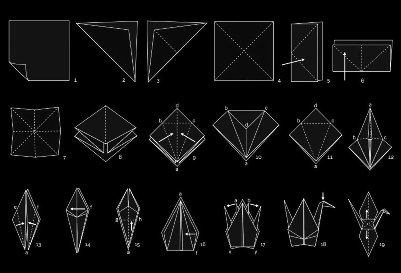 Origami kraanvogel vouwen stappenplan