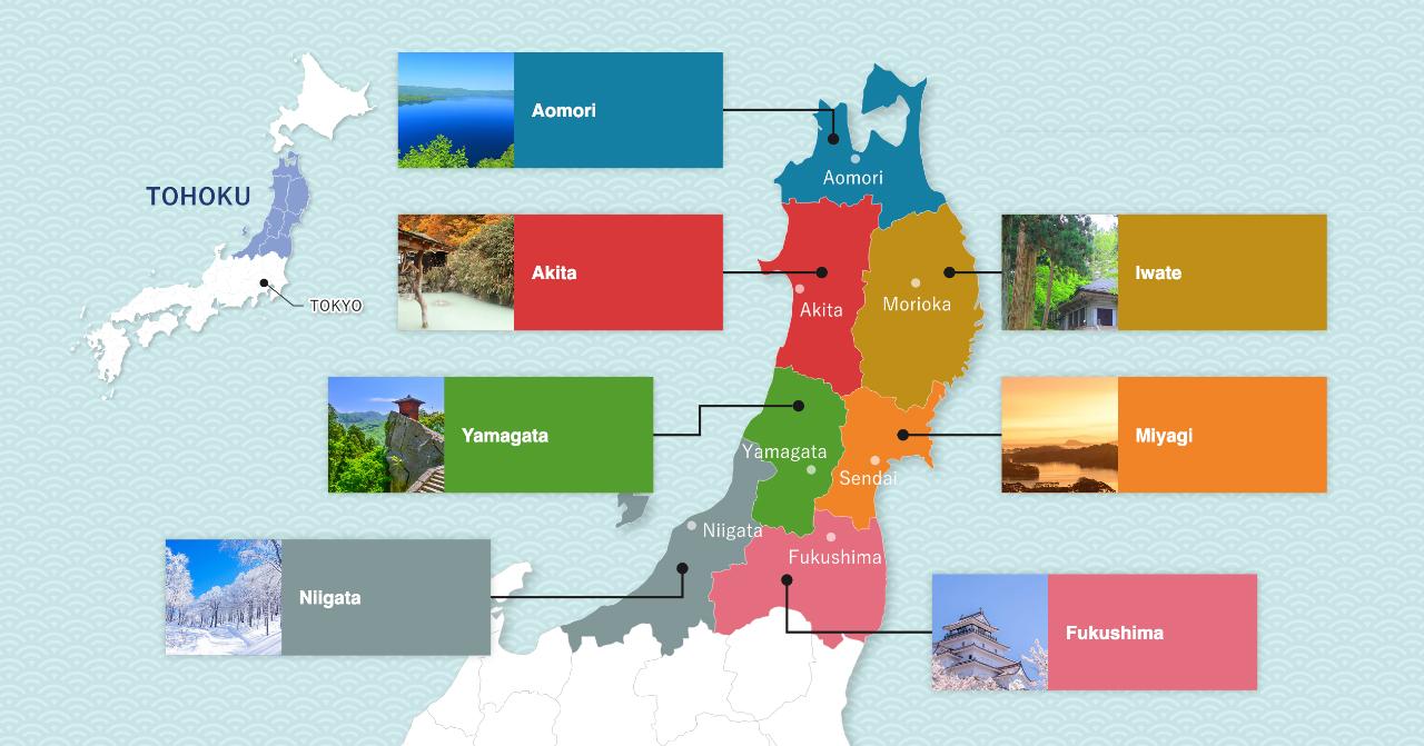 Kaart van Tohoku Japan