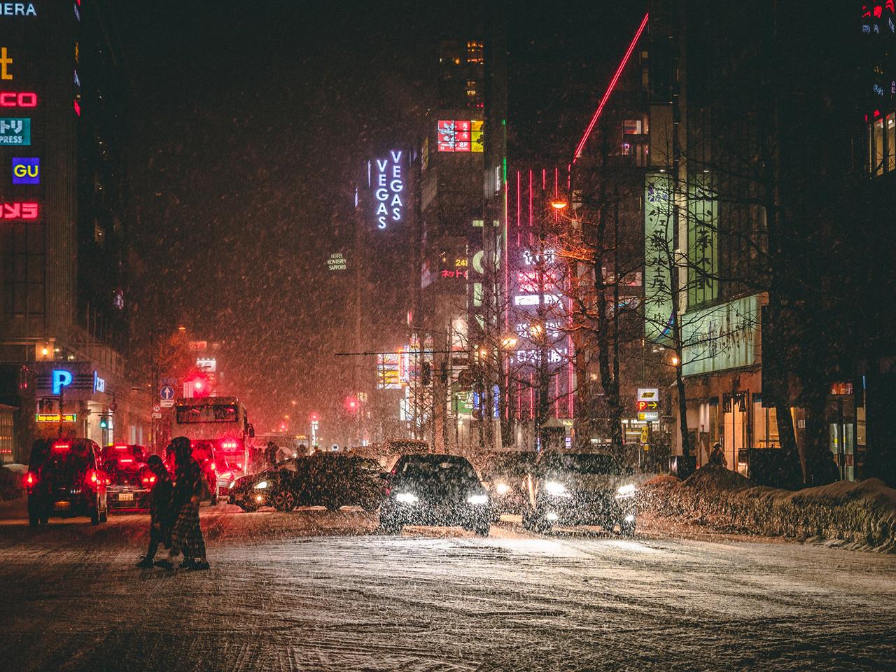 Sneeuwstorm in Sapporo